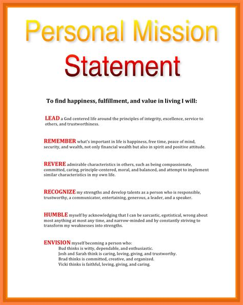 Mission Statement Template 5 Personal Mission Statement Sles Statement Synonym