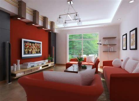 salas decoradas en rojo y blanco colores en casa