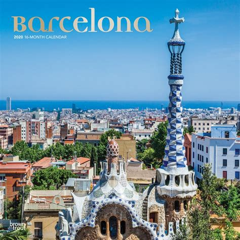 barcelona monthly square wall calendar foil