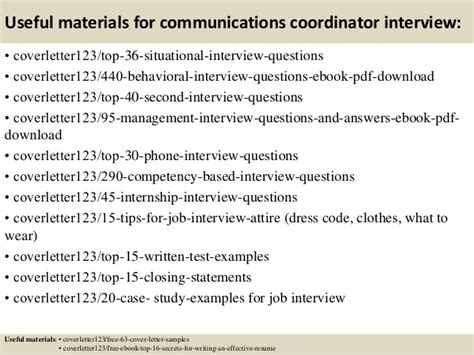 Communication Coordinator by Top 5 Communications Coordinator Cover Letter Sles