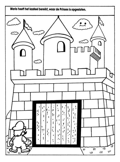 Kleurplaat Kasteel Prinses by Kleurplaten Paradijs Kleurplaat Mario Heeft Het Kasteel