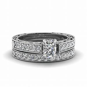 cushion cut milgrain pave diamond wedding ring sets in 14k With cushion cut diamond wedding ring sets