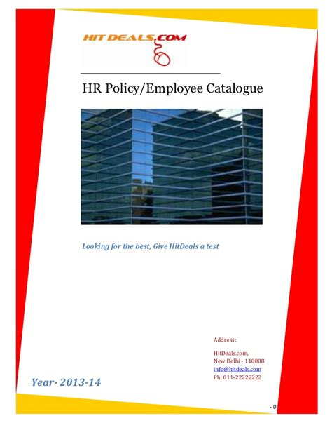 Policy Employee Catalogue Template For Your Company