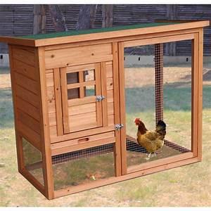 Poulailler en bois 10mm FSC non teinté 2 poules avec toit bitumé