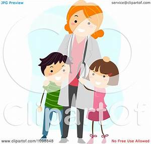 Clipart Friendly Female Pediatric Doctor Standing With Two ...