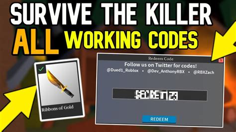 If you're playing roblox, odds are that you'll be redeeming a promo code at some point. ROBLOX | Survive The Killer ALL WORKING CODES 2020! - YouTube