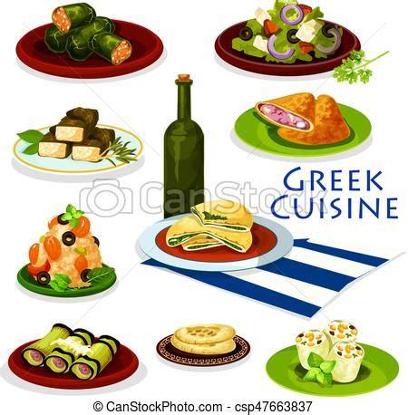 cuisine grec cuisine grec nourriture saine conception dessin animé