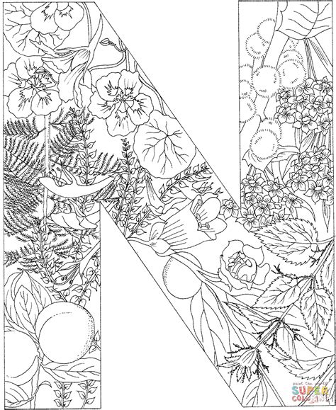 Kleurplaat Letter N by Letter N With Plants Coloring Page Free Printable