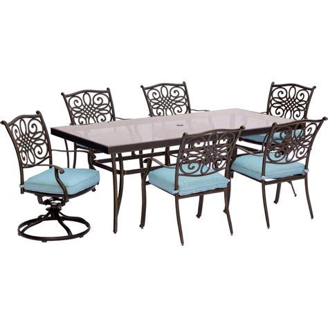 blue outdoor table and chairs hanover traditions 7 piece aluminum outdoor dining set