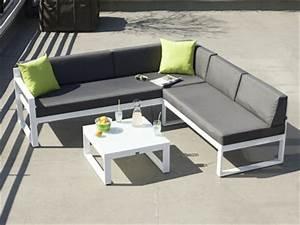 canape de jardin droit ou d39angle de 2 a 6 personnes With canape d angle exterieur 5 salon dangle de jardin en aluminium anthracite coussins