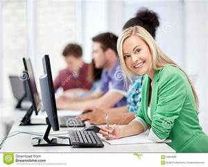Happy High School Students In Computer Class Stock Photo ...