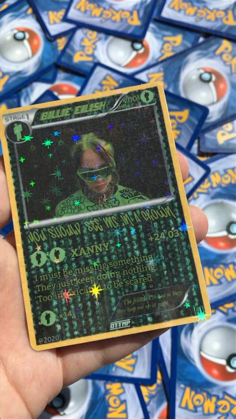 Why gm don't you run from me? I made this custom Billie Eilish Pokemon card today 😎 : billieeilish