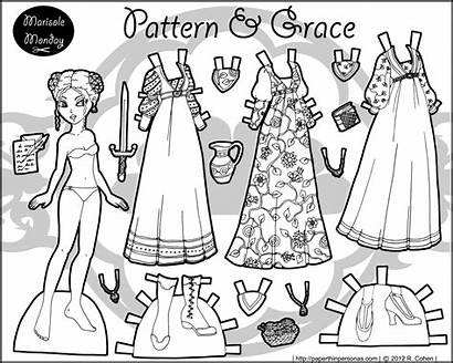 Paper Dolls Printable Medieval Doll Coloring Marisole
