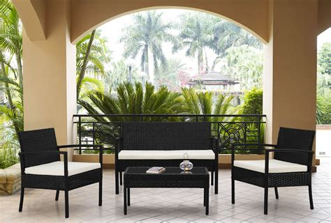 the hom teaset 4 pc patio conversation set white cushions