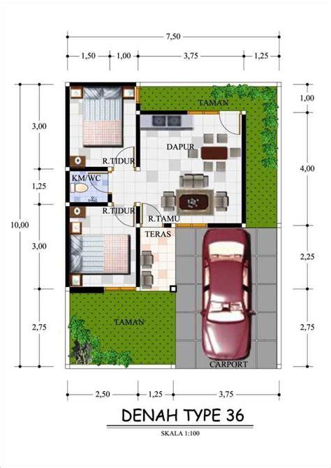 gambar denah rumah minimalis type   garasi