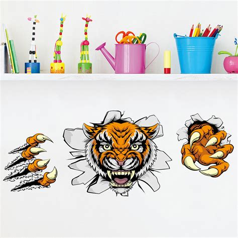 bureau enqu黎e avion creative company decoraciones de oficina etiquetas de pared domineering 3d tiger broken wall 30 90cm en banggood