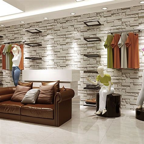 wallpaper bedroom mural modern stone brick wall paper