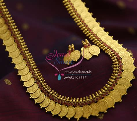 nl1386 temple jewellery laxmi god coin necklace haram maroon indian traditional jewelsmart in