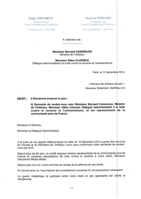 modele lettre avertissement absence non justifiée lettre des avocats de dieudonn 233 au ministre de l int 233 rieur