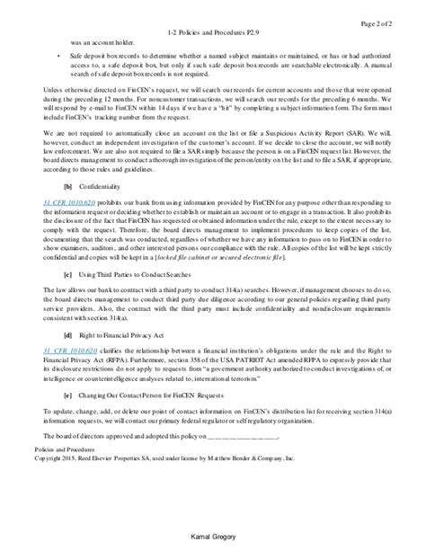 Money Laundering Policy Template by Sle Bsa Aml Policie Procedure Template