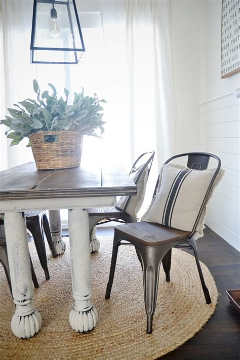 rustic metal  wood dining chairs liz marie blog