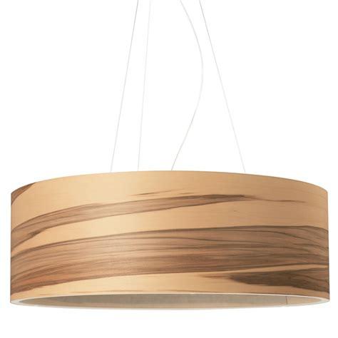 grande suspension cylindrique avec abat jour en bois au