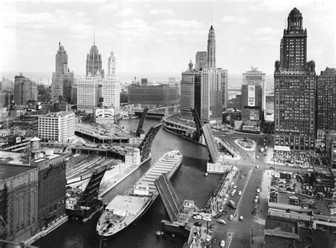 chicago river bridges history tribune east 1955 skyline historic down looking 1953 ship barge historical street chicagotribune 1950s michigan illinois