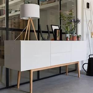Enfilade Blanc Laqué : enfilade buffet en bois blanc 2 portes et 2 tiroirs high on wood zuiver decoclico ~ Teatrodelosmanantiales.com Idées de Décoration