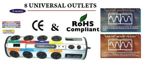 regvolt universal  outlet power strip  joules surge protector voltscom power