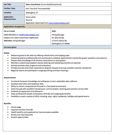 Salon Receptionist Resume by Pin By Ririn Nazza On Free Resume Sle In 2019