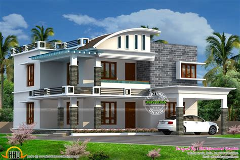 curved roof mix house sq ft kerala home design floor plans