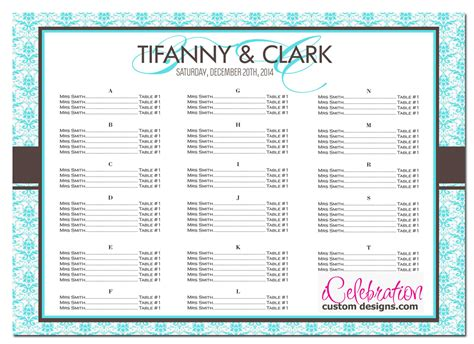 sample seating chart  wedding reception