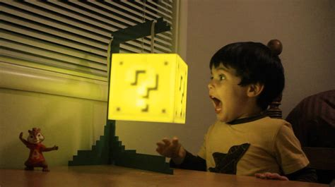 mario question block hanging l light up your room with the mario question block