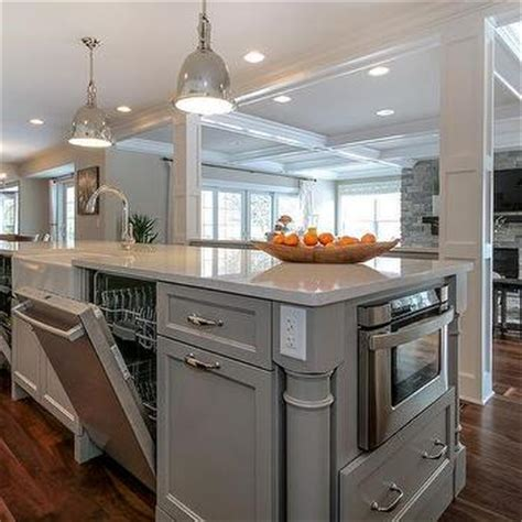 Long Gray Kitchen Island Island Farmhouse Sink Design Ideas