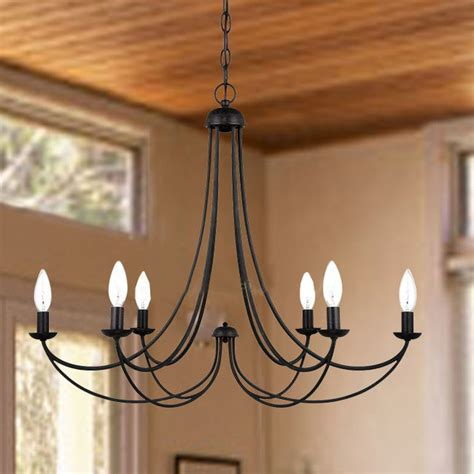 country 6 candles iron chandelier farmhouse