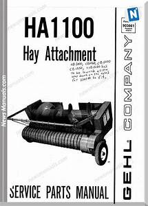 Gehl Agri Ha1100 Hay Attachment Parts Manual 903661
