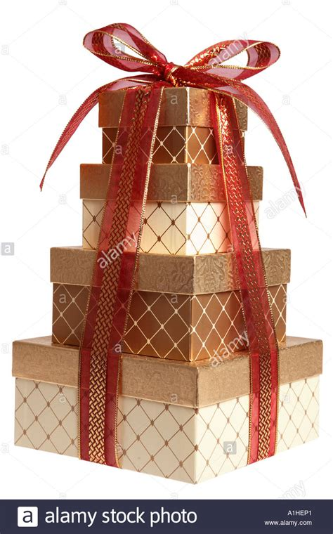 stack  christmas presents wrapped  gold  red stock