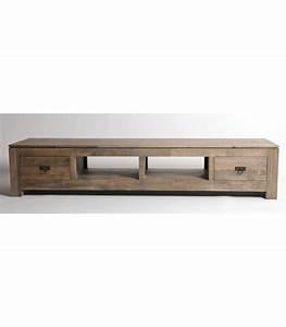Meuble Tv Bois Gris : grand meuble tv hevea teck bois gris meubles exotiques meubles hevea ~ Teatrodelosmanantiales.com Idées de Décoration