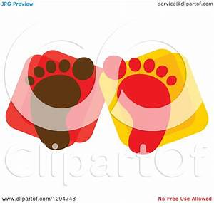Clipart of Brown and Red Baby Footprints over Squares ...
