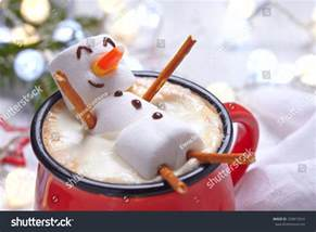 snowman marshmallows mug hot chocolate melted marshmallow stock photo