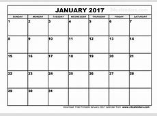 January 2017 Calendar with USA Archives Free Printable