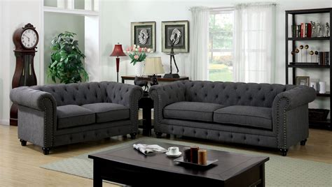 stanford gray fabric living room set  furniture