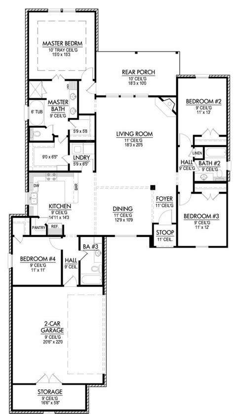 Split Bedroom Floor Plan by 653643 Four Bedroom Split House Plan House