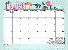 January 2017 Calendar and Print Enjoy the Little Things