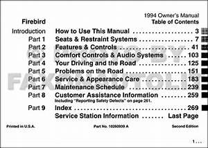 1994 Pontiac Firebird And Trans Am Owner U0026 39 S Manual Original