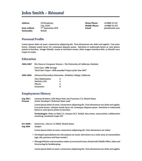 Free Resume Templates Pdf by Resume Template 7 Free Word Excel Pdf Free