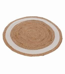Tapis rond jute et coton for Tapis rond coton