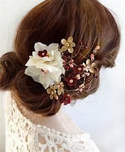 Burgundy And Gold Wedding Hair Clip Burgundy Hair Flower