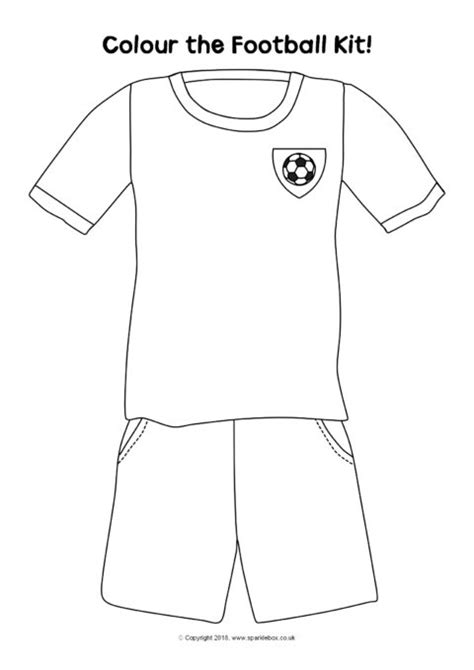 football kit colouring sheets sb sparklebox