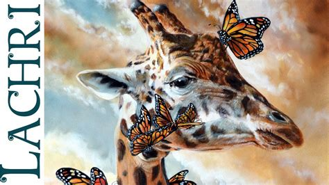 creative paintings on canvas speed painting giraffe butterflies and clouds in